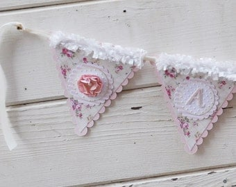Cream Floral Name Banner- Nursery Banner- Girl 1st Birthday