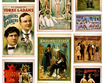 Vintage Theatre Posters - Altered Arts -  Digital Collage Sheet