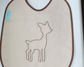 Linen Deer Baby Bib - handmade, baby,infant, toddler, brown, feeding, animal, linen