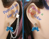 Bow Cartilage Chain Earrings Double Pierced Or Ear Cuff Pair - Any Color