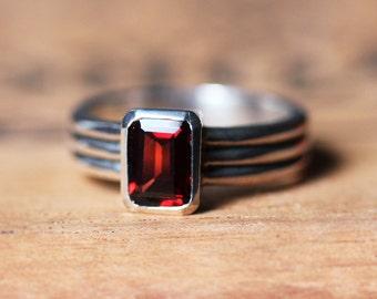 Sterling silver garnet ring silver, red garnet ring, triple band ring emerald cut ring, january birthstone ring, column ready to ship sz 5.5