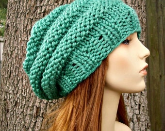 Knit Hat Womens Hat Slouchy Beanie - Oversized Beehive Beret Hat in Spearmint Green Knit Hat - Green Hat Green Beret Womens Accessories