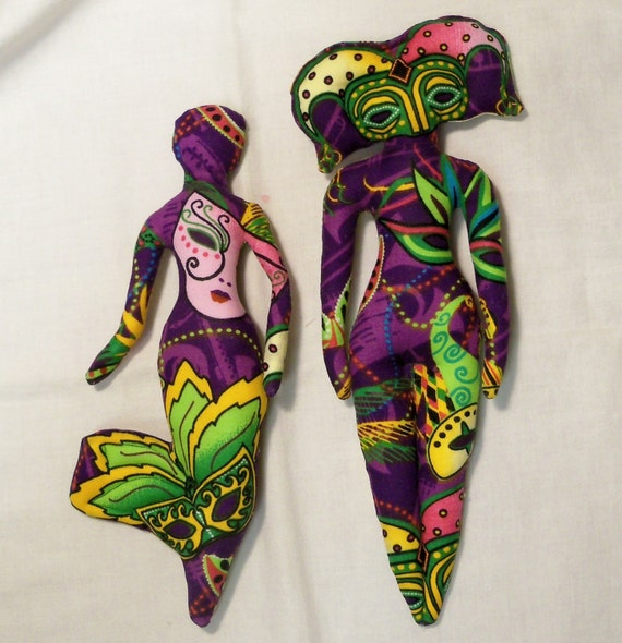 Clearance Sale Ooak 2  Mardi Gras Madness cloth art doll forms 9 and 10in fantasy goddess U Finish It kit Sale