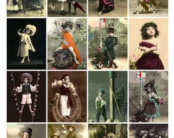 CHILDREN PLAYING DRESSUP Vintage Postcards - Instant Download Digital Collage Sheet