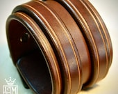 Leather cuff Bracelet Brown bridle leather Double strapped and scribed Detailing Custom made in USA for YOU by Freddie Matara!