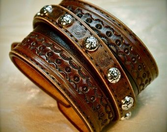Custom Brown hand tooled leather cuff bracelet Cowboy Western style made for YOU in NYC by Freddie Matara!