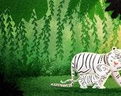 """Tiger print, Tiger Wall Art, White Tiger, Tiger Artwork, Wall Decor - """"Protected"""""""