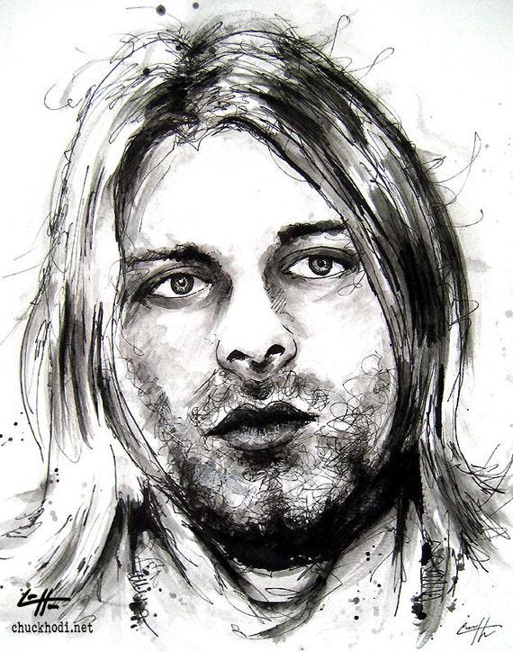 "Items similar to Print 8x10"" - Kurt Cobain - Nirvana ..."