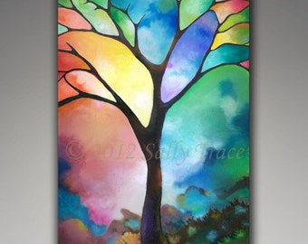 Abstract tree print, giclee print on stretched canvas, from my original painting, stained glass tree, tree of life, 24x36