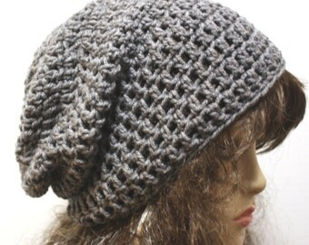 Gray Slouchy Beanie Crochet Slouch Beanie Gamer Style Womens or Mens Hat