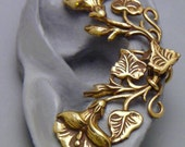 Flower and Leaf Ear Cuff - GLORIOUS  - Morning Glory Handcrafted Brass Ear Wrap