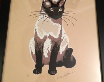 """Hand silkscreened print of a Siamese cat, framed. 18-3/4"""" W x 22-3/4"""" H. **NEW LOWER PRICE!!**"""