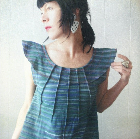 Future Legend - iheartfink Handmade Hand Printed Futuristic Artistic Trapeze Top with Bold Collar