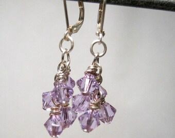 Lavender Crystal Dangle Earrings, Light Purple Crystal Earrings, Lilac Jewelry, Summer Jewellery, Cluster Earrings