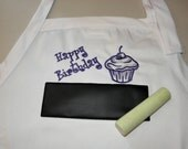 "Birthday Cupcake Chalkboard APRON Embroidered 34"" With USABLE Chalkboard BBQ Apron Purple"
