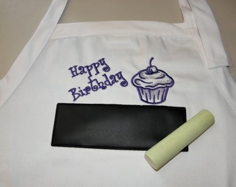 """Birthday Cupcake Chalkboard APRON Embroidered 34"""" With USABLE Chalkboard BBQ Apron Purple - Ready to Ship"""