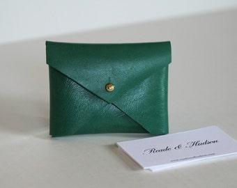 Emerald Green leather handmade business card holder, envelope style case