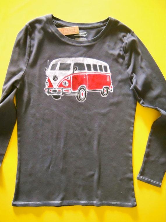 Women Long Sleeve T Shirt Batik Hippie Camper Hand By Baganus