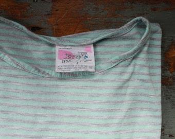 BOXY striped tee shirt - Vintage AQUA top