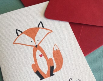 What a Fox- Love single greeting card