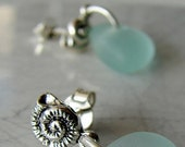 Reserved for Elisa- Little Nautilus sea glass earrings