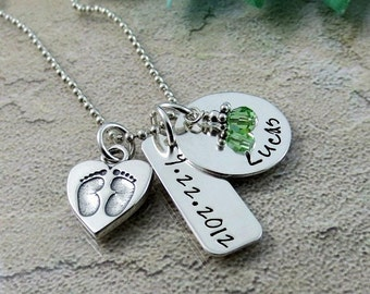 Personalized Baby Name Necklace - New Mom Necklace - Baby Feet Charm - Birthstone Jewelry - Baby Necklace - Custom Mother's Day Gift -