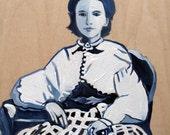 Original Art Acrylic on Wooden Panel Board Civil War ERa Teenage Girl Full Dress