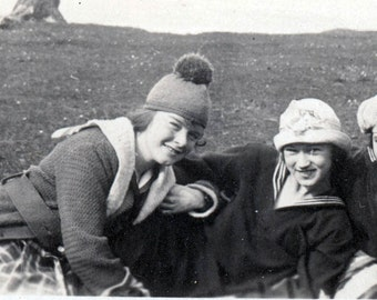 Vintage photo Teenage Girls in KNit Caps Sailor shirts in the Field