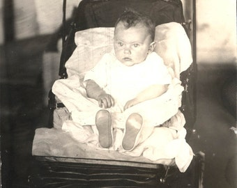 vintage photo Baby Elsa in her baby ELkhart Indiana Allwin Folding go Cart