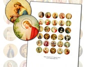 "Antique Catholic Holy Cards II  1"" circle Digital Collage sheet 1 inch size for altered art collage mixed media 25.4 mm round"