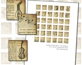 Antique French Music and Musical Instrument Scrabble tile digital collage sheet 75 x 83 in 19mm x 21mm