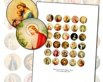 """Antique Catholic Holy Cards II  1"""" circle Digital Collage sheet 1 inch size for altered art collage mixed media 25.4 mm round"""