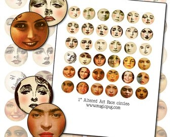 "Altered Art Faces Digital Collage sheet 1 inch circles printable DIY Frida Kahlo 25mm 1"" round"