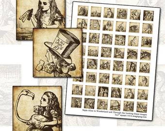 "Alice in Wonderland antique parchment look inchies 1x1 inch square digital collage sheet 25mm 25.4mm 1"" rabbit caterpillar walrus"
