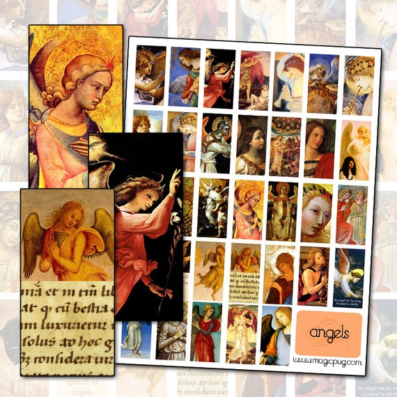 Angel Religious Digital Collage sheet with quotes domino size 1x2 in 25mm x 50mm middle ages fine art paintings