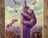 Sloth, Animal,  Slothzilla, Empire State Building Print 18x24 - sharpshirter
