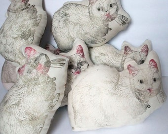 Choose your White Cat block printed pillow, Linocut Cat Print Pillow or Cushion, Stuffed Animal, White Cat