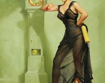 ELVGREN -2 for 1 SALE  Negligee Grandfather Clock Pin-up Crocker Spaniel stockings Lingerie, sheer robe nylons satin panties pinup