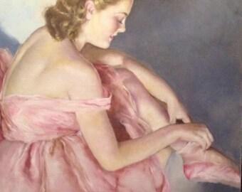 LARGE CANVAS 20x24 Sale Freid Pal Pink  BALLET  Dancer Art Deco 20s, 30s 40s Pin-up Dancers, Ballet Pinup Burlesque