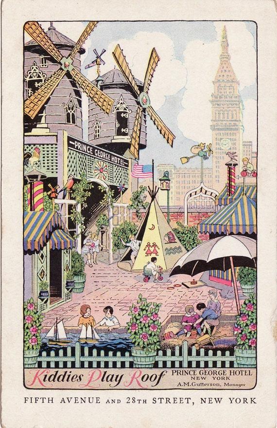 Vintage Postcard of Magical Kiddies Play Roof at The Prince George Hotel