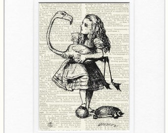 Alice in Wonderland and her flamingo print