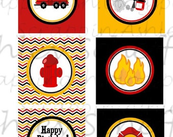 Firefighter. Fire truck. Printable. Cupcake Toppers. Printable Cupcake Toppers. Cupcake Picks. Instant Download. PDF file.