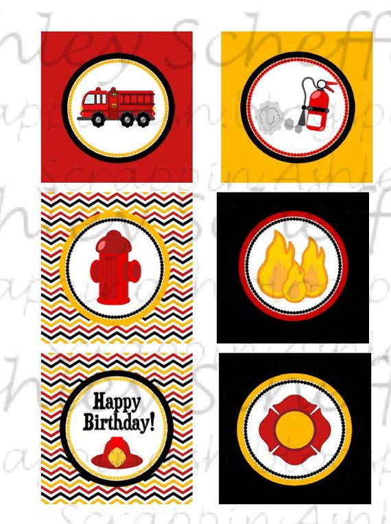 Firefighter Fire Truck Printable Cupcake Toppers Printable