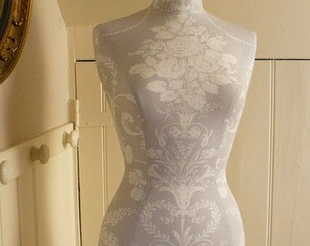 Clothes Mannequin Laura Ashley Fabric Corset laced Dressform Display - Keri in Grey