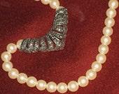 Avon Necklace Ivory Pearls Marcasite Pendant 1970 Vintage Art Nouveau Chevron Style