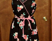 Womens Sz 9 Summer Dress Rockabilly Sundress Black Floral Spaghetti Straps Vintage 1960's