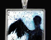 Dark Angel... Beautiful  Necklace with Original Art by Kathy Morton Stanion EBSQ
