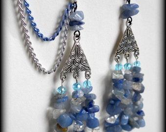 Nordic Beauty Lapis Lazuli and Quartz Cartilage Chain Earrings
