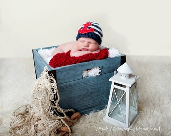 Knit Nautical Baby Boy hat with  ANCHOR,  Baby Beanie,  Childrens hats, boy hats, girl hats, navy and white hat, handmade hat