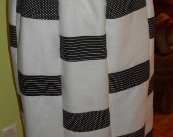 Ultra HIPSTER Vintage Black and White Sanibel Sports PATCHWORK Skirt